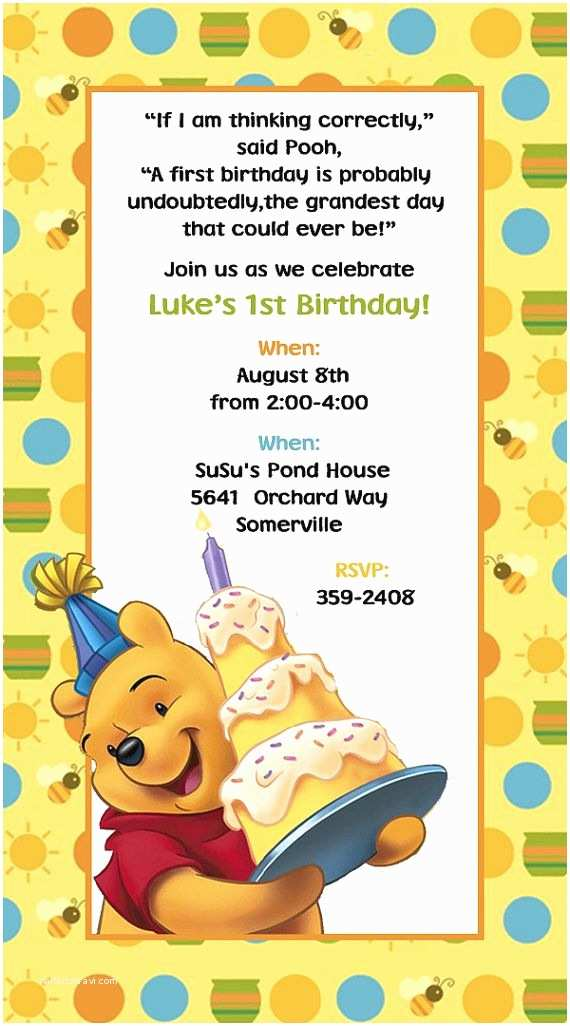 Winnie the Pooh Birthday Invitations Winnie the Pooh Invitations Birthday by Suzansdesigns On