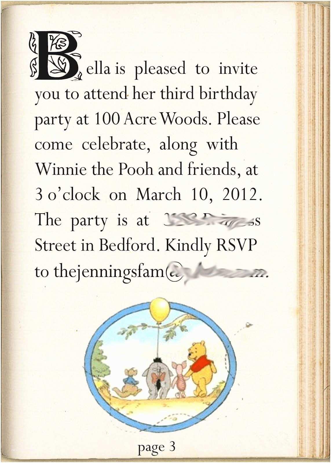 Winnie the Pooh Birthday Invitations Winnie the Pooh Party Invitation