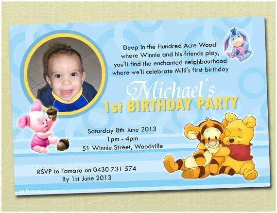Winnie the Pooh Party Invites Personalised Winnie the Pooh Birthday Invitations