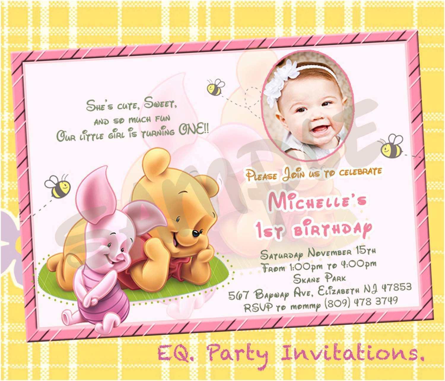 Winnie the Pooh Party Invites Winnie the Pooh 1st Birthday Invitations Printable