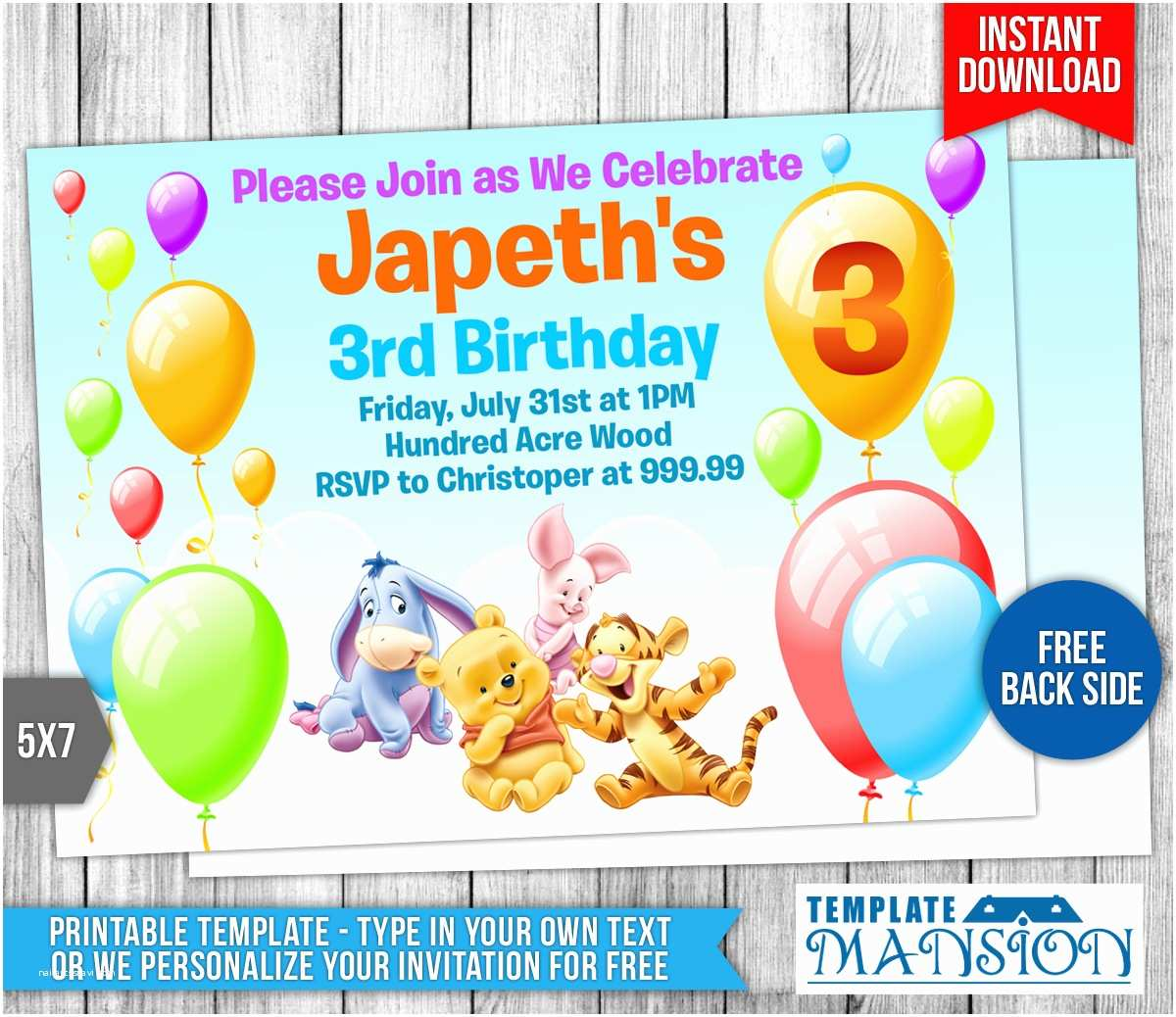 Winnie the Pooh Party Invites Winnie the Pooh Birthday Invitation by Templatemansion On