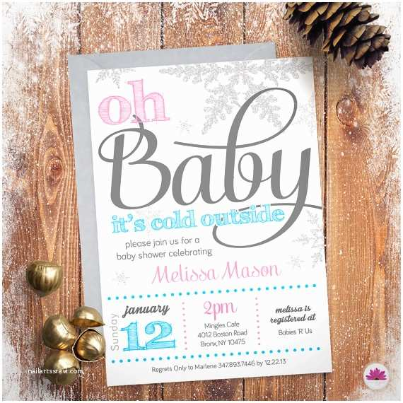 Winter Baby Shower Invitations Baby Shower Invitation Winter Wonderland theme Digital
