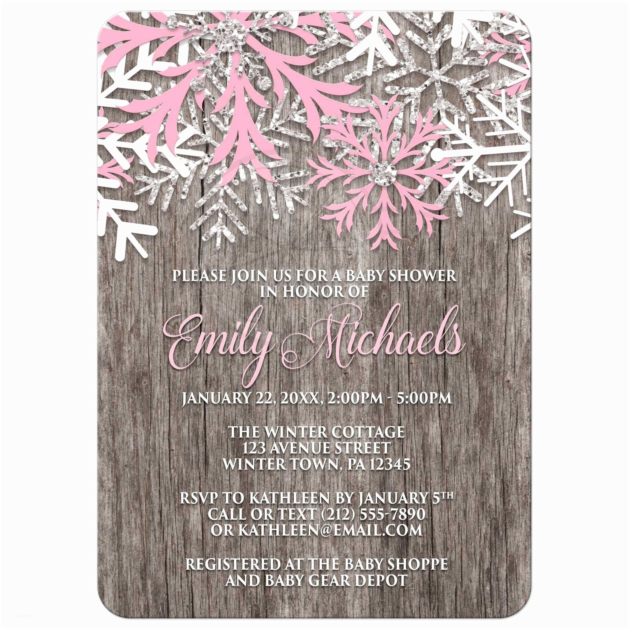Winter Baby Shower Invitations Baby Shower Invitations Pink Snowflake Rustic Winter Wood