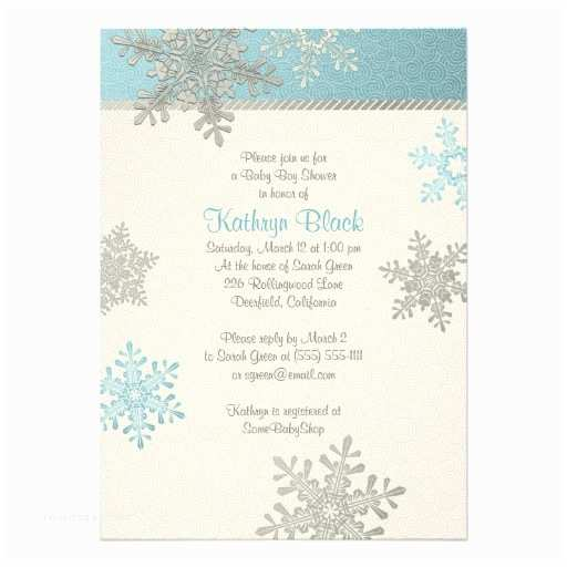 Winter Baby Shower Invitations Blue Silver Ivory Snowflake Winter Baby Shower