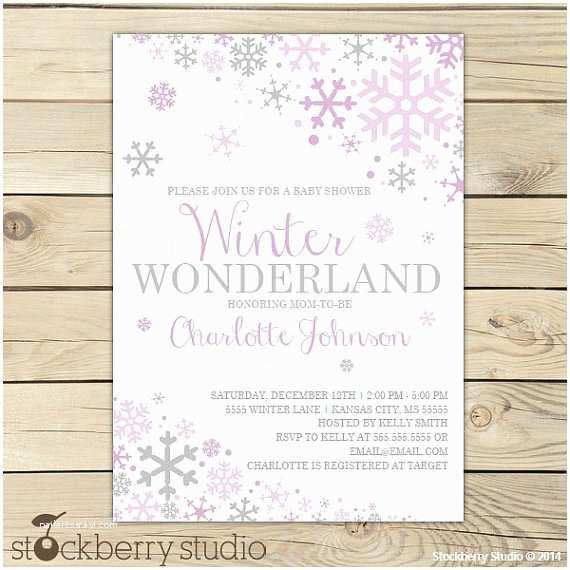Winter Baby Shower Invitations Girl Winter Baby Shower Invitation Printable Purple and Gray