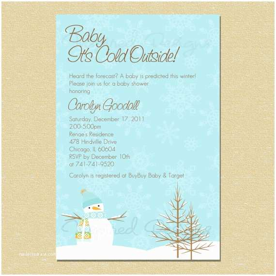 Winter Baby Shower Invitations Items Similar to Baby It S Cold Outside Winter