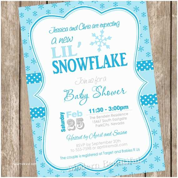 Winter Baby Shower Invitations Little Snowflake Baby Shower Invitation Winter Baby