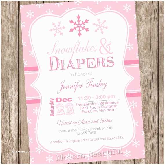 Winter Baby Shower Invitations Pink Snowflake Baby Shower Invitation Winter Baby Shower