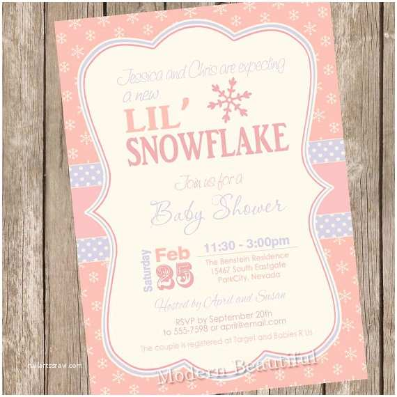 Winter Baby Shower Invitations Snowflake Baby Shower Invitation Winter Baby Shower
