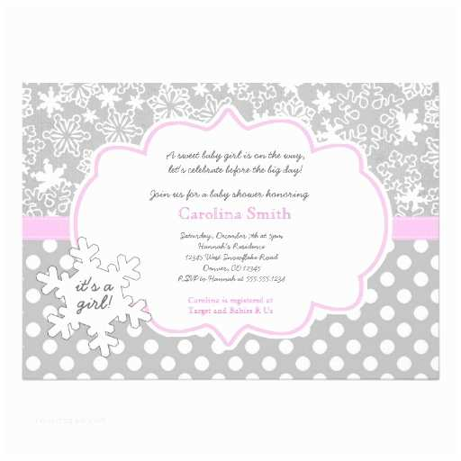 "Winter Baby Shower Invitations Snowflake Winter Baby Shower Girl Invitations 5"" X 7"
