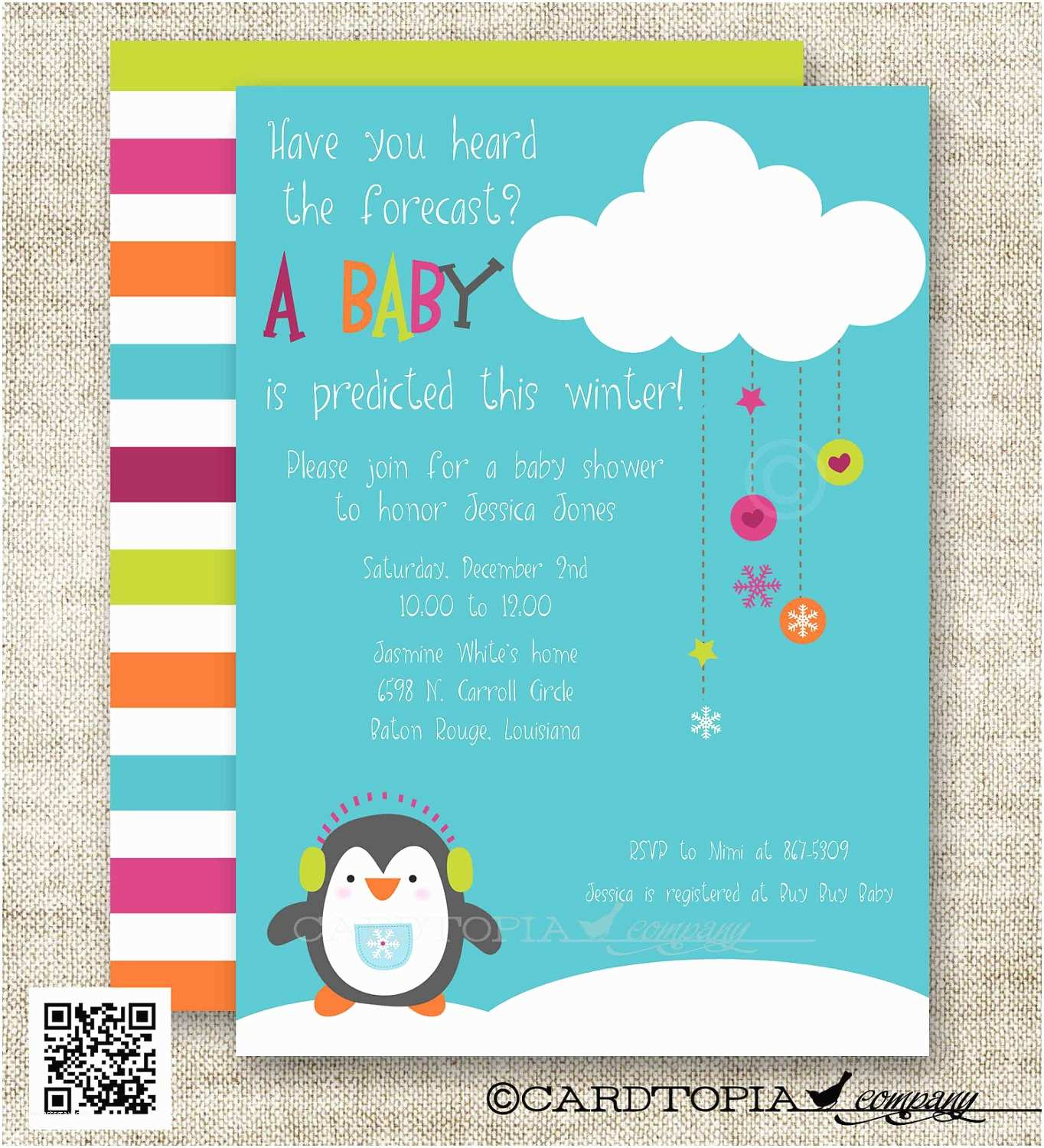 Winter Baby Shower Invitations Snowman Penguin Winter Baby Shower Baby Shower by