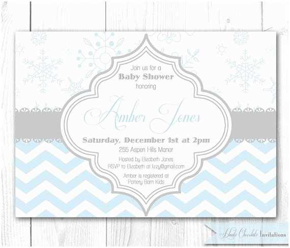 Winter Baby Shower Invitations Winter Baby Shower Invitation Modern Chevron & Snowflake