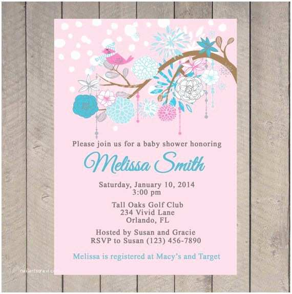 Winter Baby Shower Invitations Winter Baby Shower Invitation Printable Pink and Blue