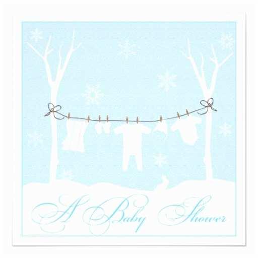 Winter Baby Shower Invitations Winter Clothesline Baby Shower Invitation