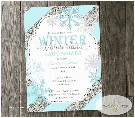 Winter Baby Shower Invitations Winter Wonderland Baby Shower Invitation Snowflakes Blue