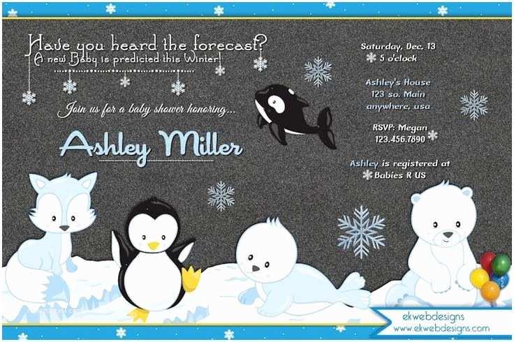Winter Baby Shower Invitations Winter Wonderland Baby Shower Invitations Artic Animal