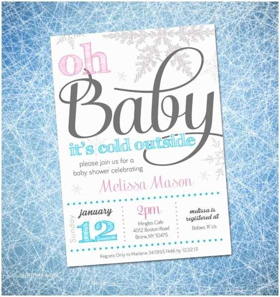 Winter Baby Shower Invitations Winter Wonderland theme Winter Baby Showers and Winter