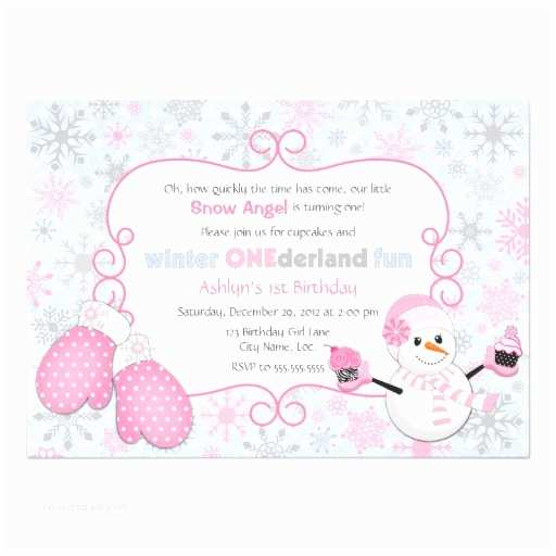 Winter First Birthday Party Invitations Custom Winter E Derland 1st Birthday Invitation