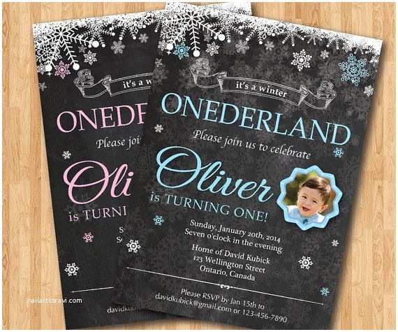 Winter First Birthday Party Invitations Matching Banner