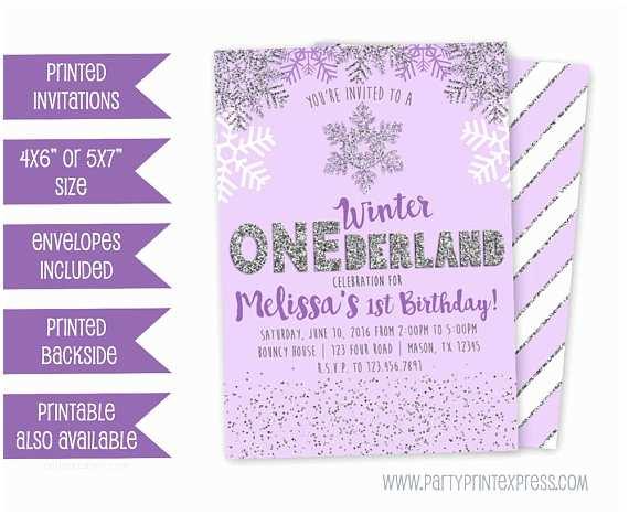 Winter First Birthday Party Invitations Purple Winter Onederland Invitation Winter Wonderland