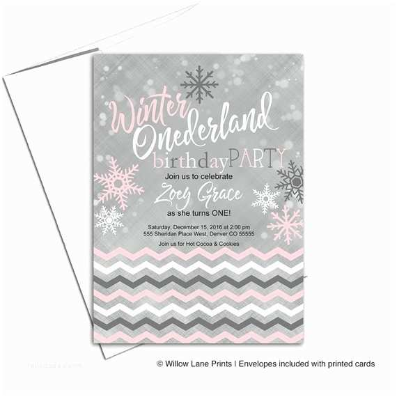 Winter First Birthday Party Invitations Winter Onederland Invitation First Birthday Party