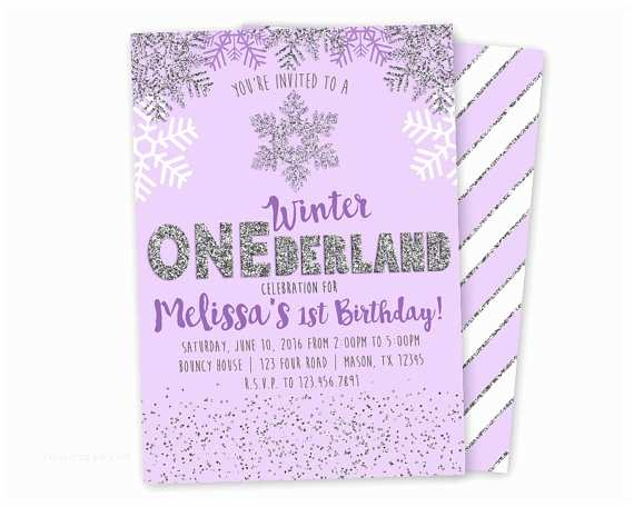 purple winter onederland invitation