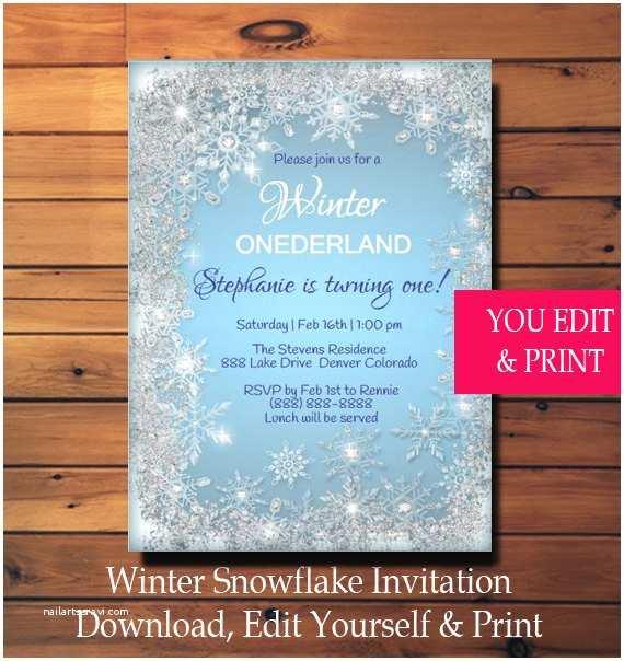 Winter Onederland Birthday Invitations Winter Birthday Invitation Winter Ederland Birthday