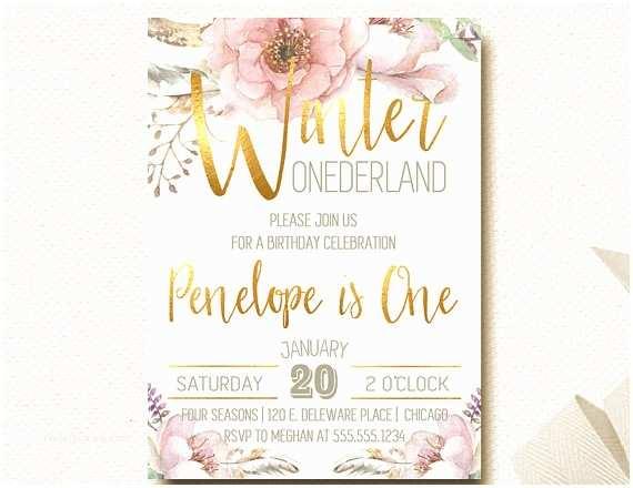 Winter Onederland Birthday Invitations Winter Ederland Invitation Floral Invite Boho Chic Woodland