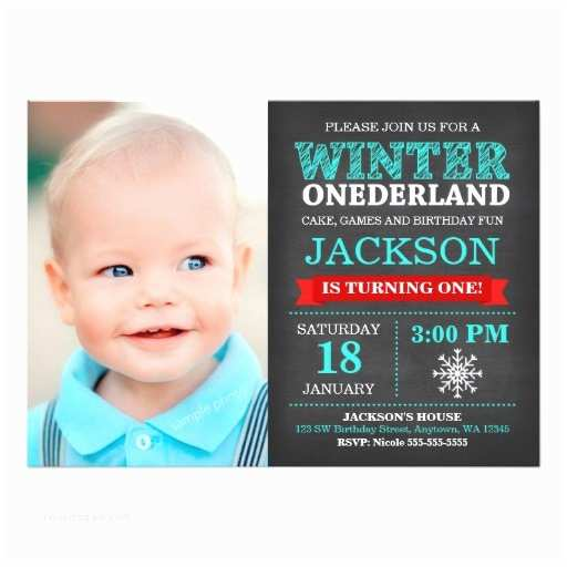 Winter Onederland Birthday Invitations Winter Onederland Chalkboard Boy First Birthday Card