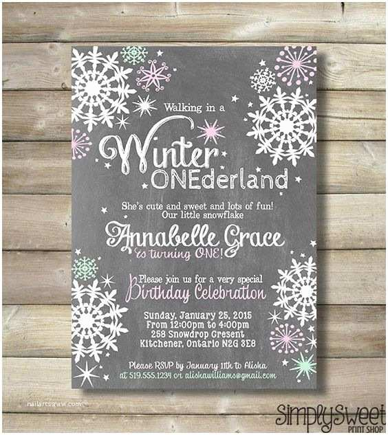 Winter Onederland Birthday Invitations Winter Onederland Girl Birthday Party Invite Invitation