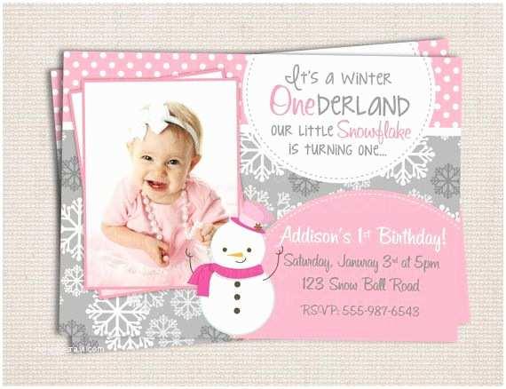 Winter Onederland Birthday Invitations Winter Onederland Girly Snowman Pink & Grey Birthday Party
