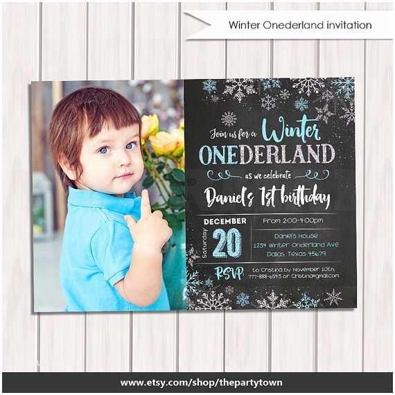 Winter Onederland Birthday Invitations Winter Onederland Invitation Chalkboard Boy Winter
