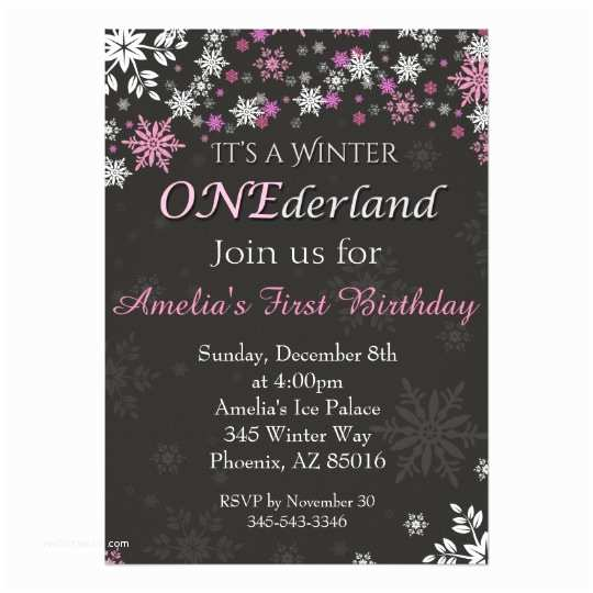 Winter Onederland Birthday Invitations Winter Onederland Invitation First 1st Birthday Card