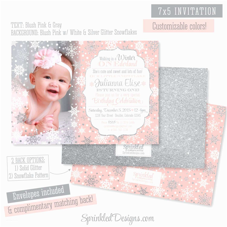 Winter Onederland Birthday Invitations Winter Onederland Invitation Girl Card Blush Pink