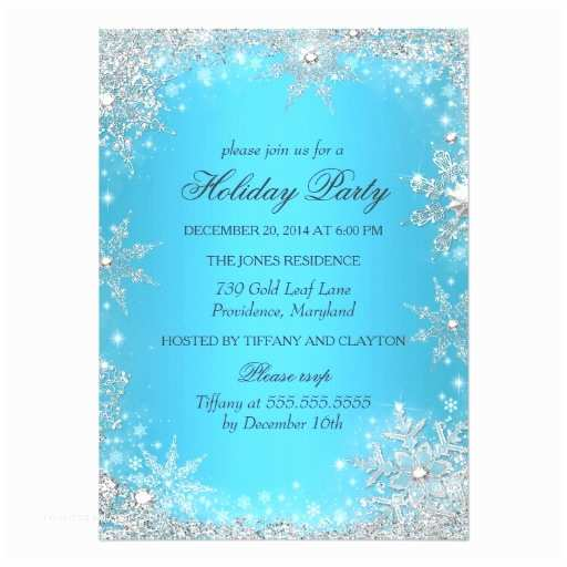 Winter Party Invitations Blue Winter Wonderland Christmas Holiday Party 4 5x6 25