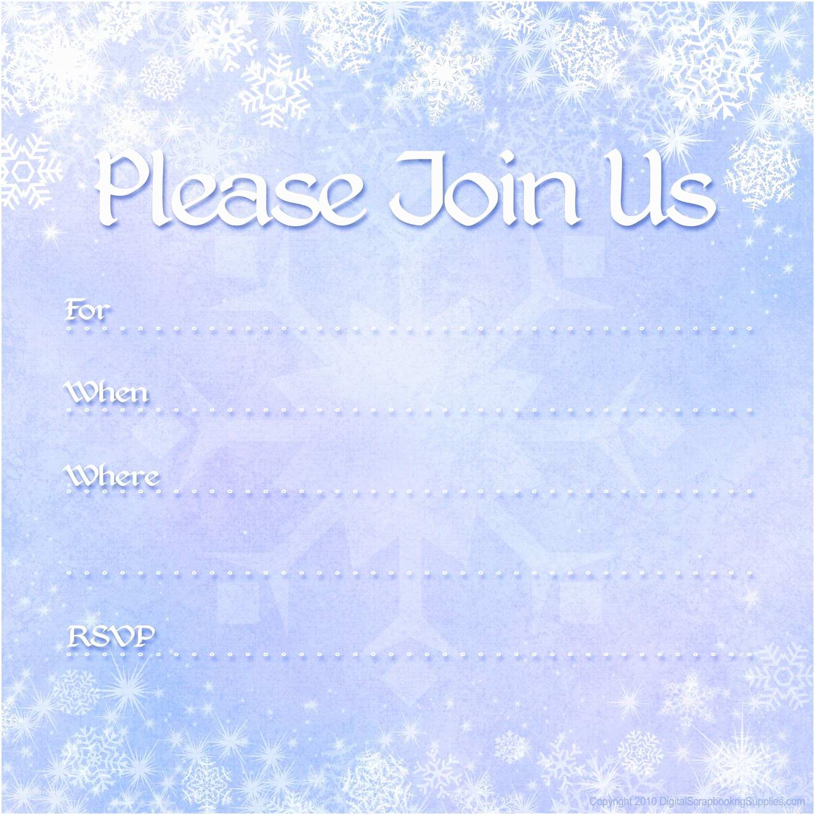 Winter Party Invitations Free Printable Invites