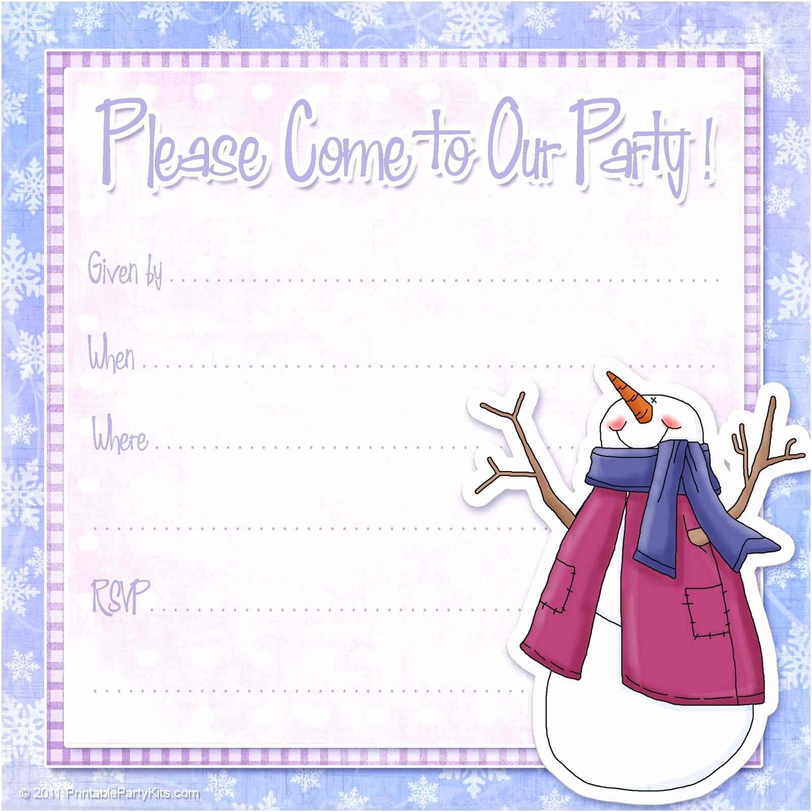Winter Party Invitations Free Printable Party Invitations Free Snowman Invite