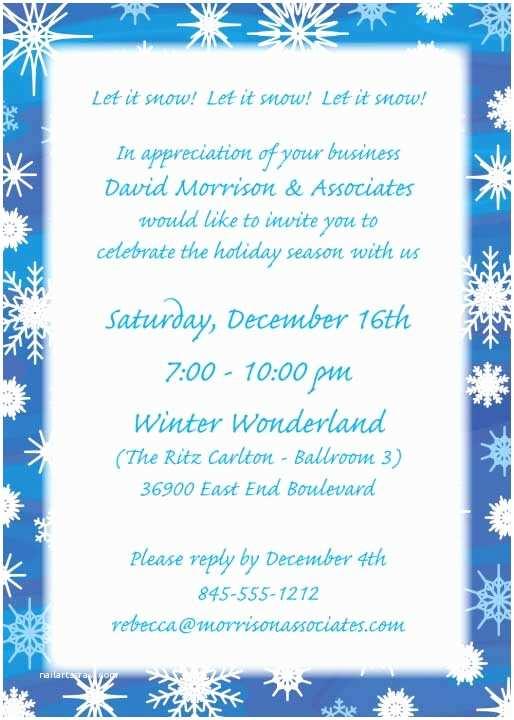 Winter Party Invitations Holiday Snow theme Custom
