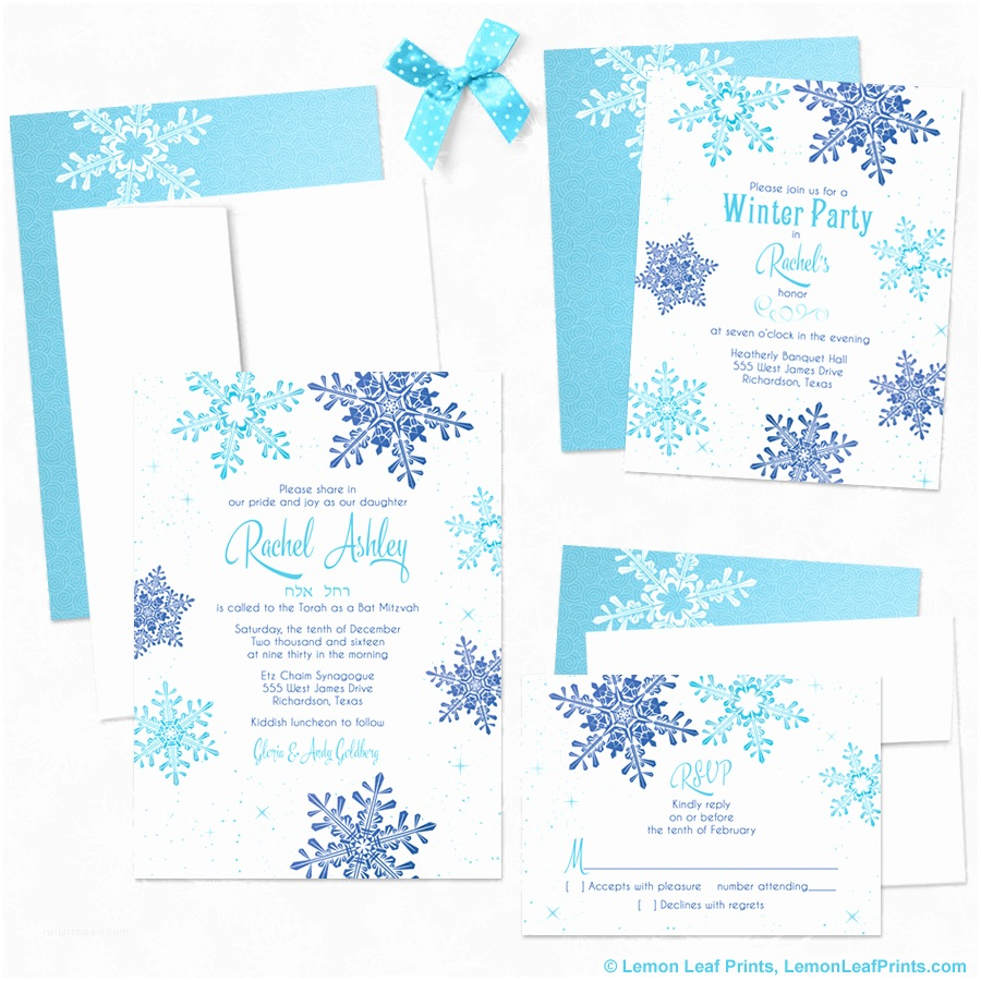 Winter Party Invitations Party Simplicity Winter Wonderland Bat Mitzvah Invitations
