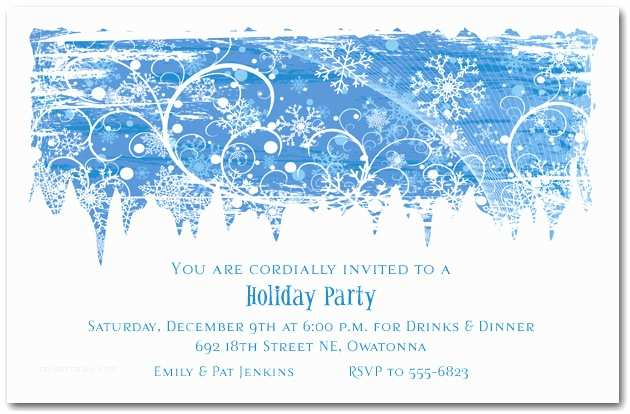 Winter Party Invitations Swirling Snowflakes Holiday Invitation Christmas Invitations