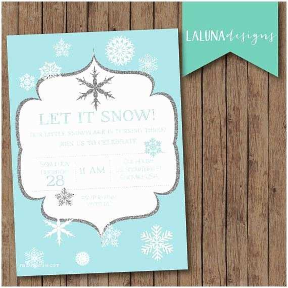 Winter Party Invitations Winter Birthday Invitation Snowflake Invitation