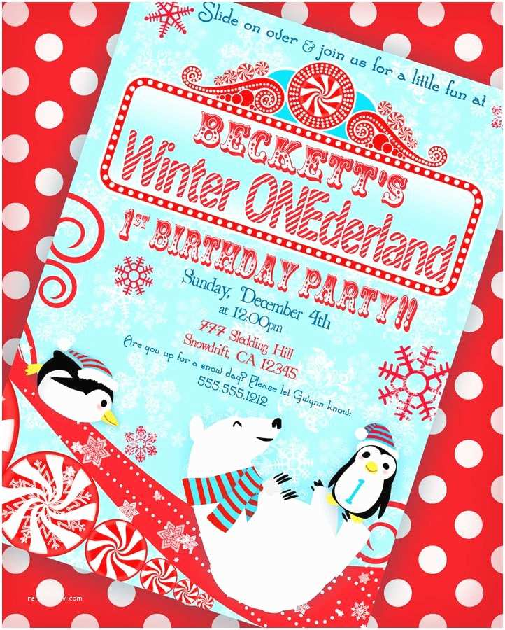 Winter Party Invitations Winter Onederland Invitation Winter Wonderland Invitation