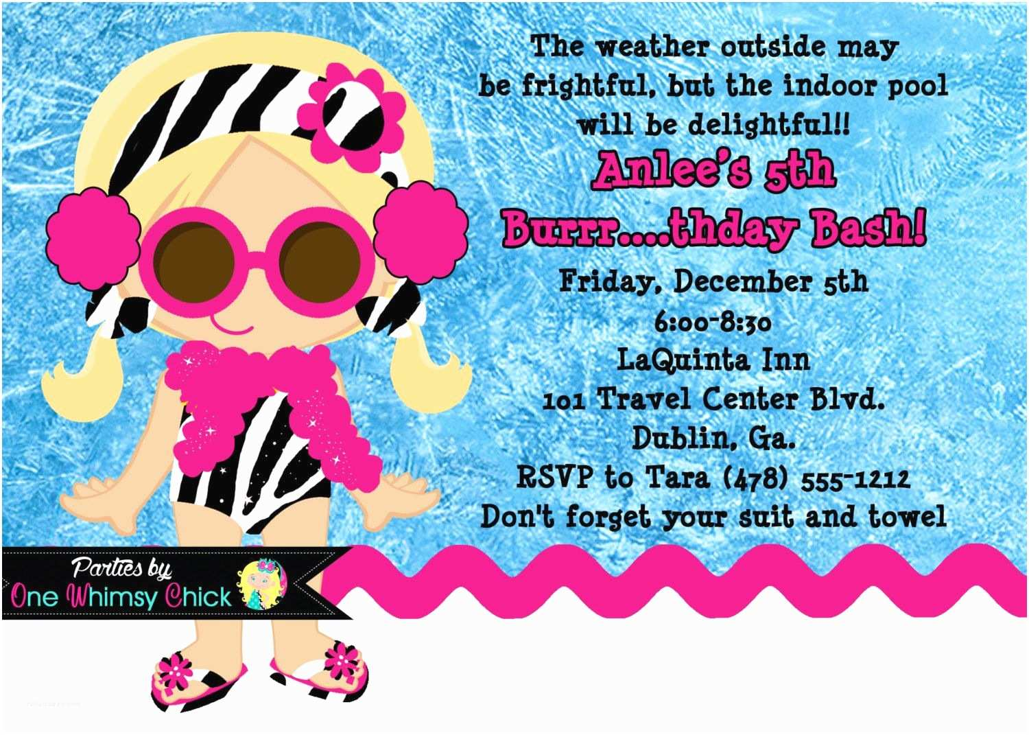 Winter Party Invitations Winter Pool Party Birthday Invitation Printable or