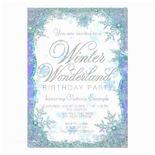 Winter Party Invitations Winter Wonderland Frozen Birthday Party 5x7 Paper