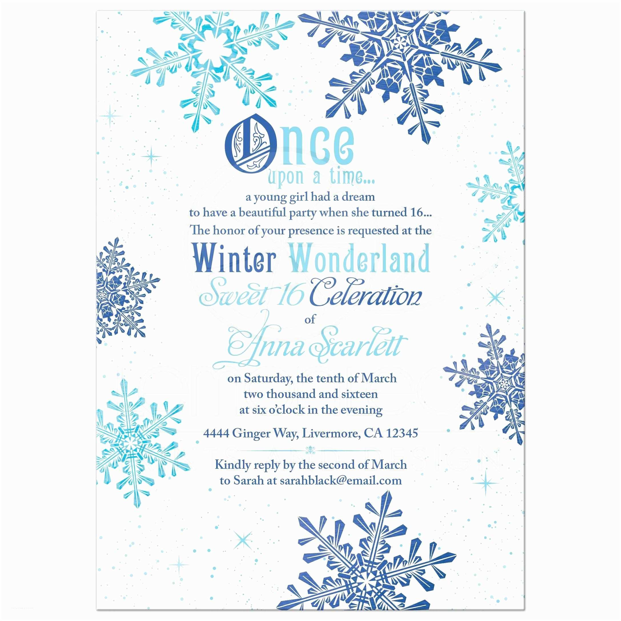Winter Party Invitations Winter Wonderland Sweet 16 Invitation