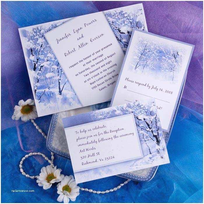 Winter themed Wedding Invitations Cheap Romantic Snowy Scenery Winter Wedding Card Ewi093 as