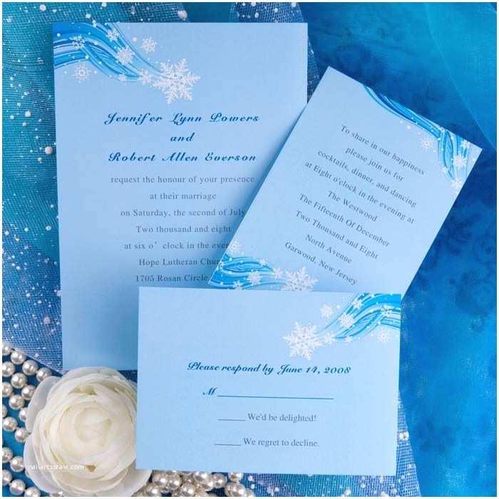 Winter themed Wedding Invitations Printable Elegant Snowflake Blue Winter Beach Wedding