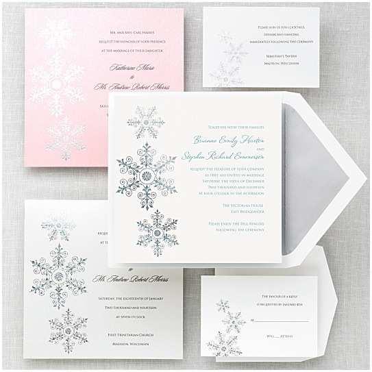 Winter themed Wedding Invitations Sparkling Snowflake Wedding Invitation Winter Wedding