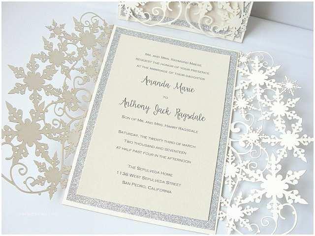 Winter themed Wedding Invitations Winter Wonderland Wedding Invitation Snowflake Wedding Invite