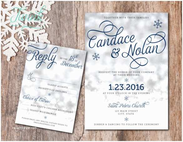 Winter Wedding Invitation Templates 15 Winter Wedding Invitation Templates – Free Sample